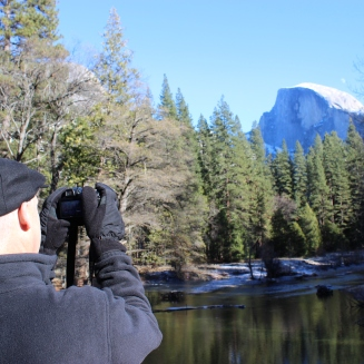 My dad has been visiting Yosemite since he was young and said the bridge we were standing on is his favorite spot to photograph the iconic Half Dome.